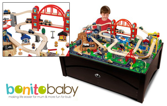 Check out that amazing train table ...  sc 1 st  Sh1ft.org & Metropolis Train Table and 100 Piece Set at Bonito Baby | The ...